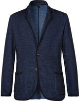 Lardini Navy Slim-Fit Unstructured Knitted Cotton And Linen-Blend Blazer
