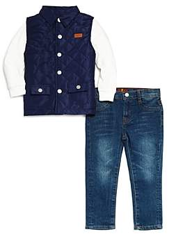 7 For All Mankind Boys' 3-Piece Vest, Tee and Jeans Set - Little Kid