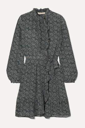 Vanessa Bruno Jutta Ruffled Floral-print Crepe Wrap Mini Dress - Blue