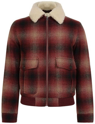 KENT AND CURWEN Checked Shearling Bomber Jacket