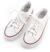 BeautyGal Women's Casual Solid Color Lace-Up Flat Canvas Sneakers