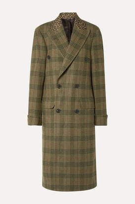 R 13 Oversized Leopard-print Cotton-trimmed Checked Wool-twill Coat - Green
