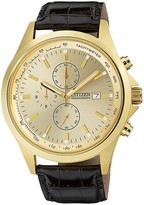 Citizen Men's Eco-Drive Gold-Tone Stainless Steel Black Leather Band Watch