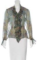 Roberto Cavalli Ruffled Silk Top