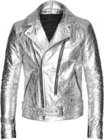 ALTIIR - Men's Neo-Classic Biker Jacket In Silver