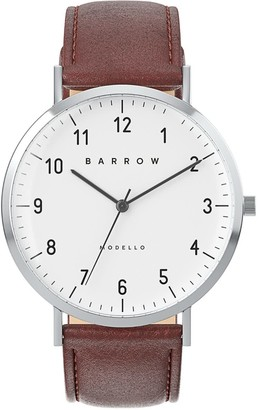 Barrow Petite Watch With Steel Mesh Strap & Brown Leather Strap