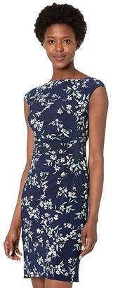 Lauren Ralph Lauren Novellina Cap Sleeve Day Dress (Lighthouse Navy/Blue/Multi) Women's Dress