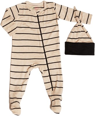 Baby Grey by Everly Grey Jersey Footie & Hat Set