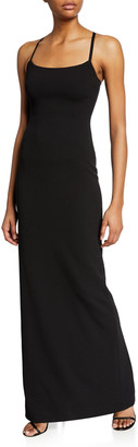 SOLACE London Saruo Square-Neck Long Cocktail Dress