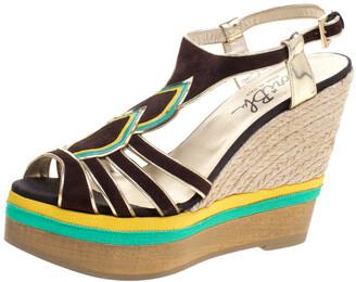 Loriblu Tricolor Suede And Leather Wedge Espadrille Platform Sandals Size 40