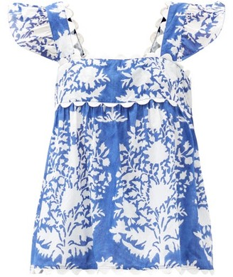 Juliet Dunn Ruffle-sleeve Floral-print Cotton Blouse - Blue White