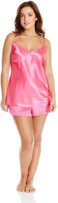 Cinema Etoile Women's Plus-Size Satin Spaghetti Strap Top and Boxer Pajama Set