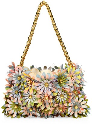 Vanina Inflorescence Floral Applique Silk & Satin Clutch