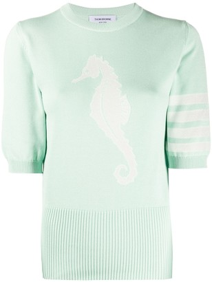 Thom Browne seahorse-detail 4-Bar knitted top