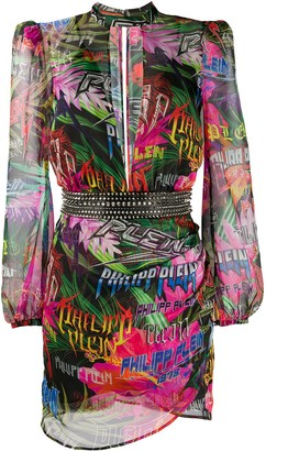 Philipp Plein Jungle Rock long-sleeve dress
