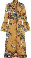 Erdem Siren Ruffled Printed Silk-satin Dress - Mustard