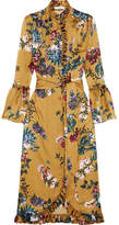 Erdem Siren Ruffled Printed Silk-satin Midi Dress - Mustard
