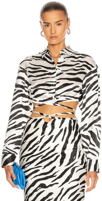 CHRISTOPHER ESBER Cropped Wrap Tie Shirt in Brushed Zebra | FWRD