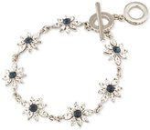 Carolee Silver-Tone Crystal Flower Toggle Bracelet