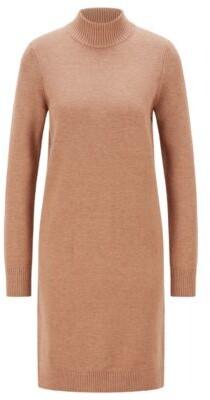 HUGO BOSS Rollneck sweater dress in cotton and virgin wool