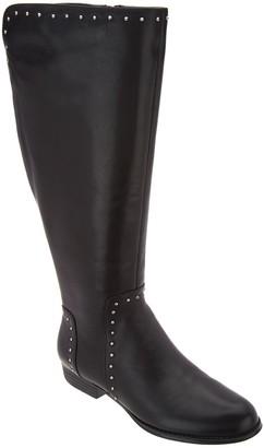 Isaac Mizrahi Live! Medium Calf Studded Leather Riding Boot