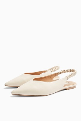 Topshop WIDE FIT APPLE Ecru Ruched Slingback Shoes
