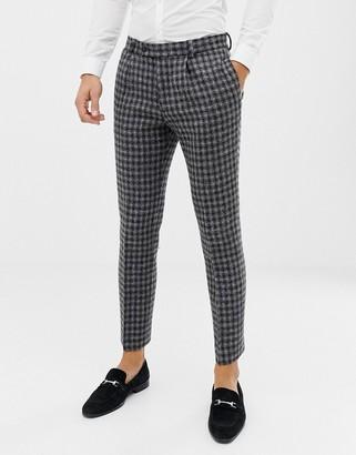 Asos Design DESIGN slim suit trousers in 100% wool Harris Tweed in monochrome-Black