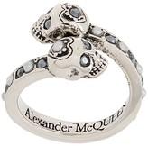 Alexander McQueen twin skull embellished ring
