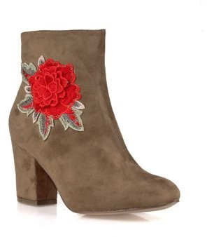 Nature Breeze Embroidered Women's High Heel Booties in Taupe