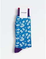 Duchamp Mens Blue Contrast Flower Socks
