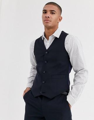 Asos Design DESIGN wedding skinny suit waistcoat in wool blend in navy