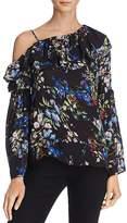 Parker Lima One-Shoulder Ruffled Floral Silk Top
