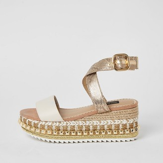 River Island Beige studded flatform wedge wide fit sandals