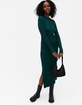 Monki Lemla rib long sleeve midi dress in green
