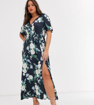 Asos DESIGN Curve floral flutter sleeve maxi dress with tassle belt