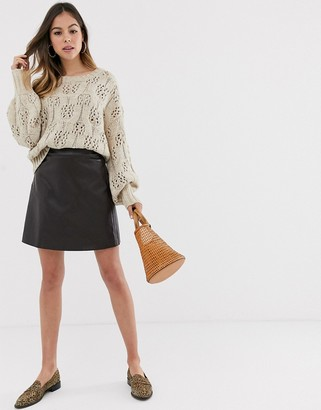 Moon River faux leather skirt-Brown