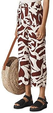 Whistles Ella Zebra Print Cropped Linen Pants
