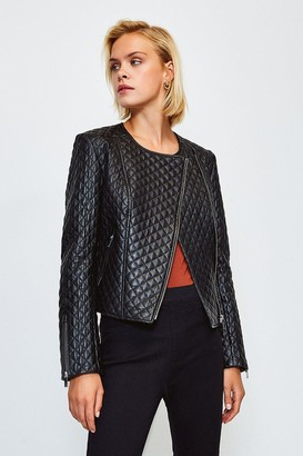 Karen Millen Leather Collarless Biker Jacket