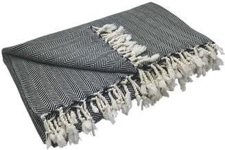 Slate & Salt Herringbone Turkish Throw Blanket