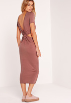 Missguided Twist Back Midi Dress Pink