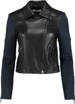 J Brand Aiah neoprene-paneled leather biker jacket