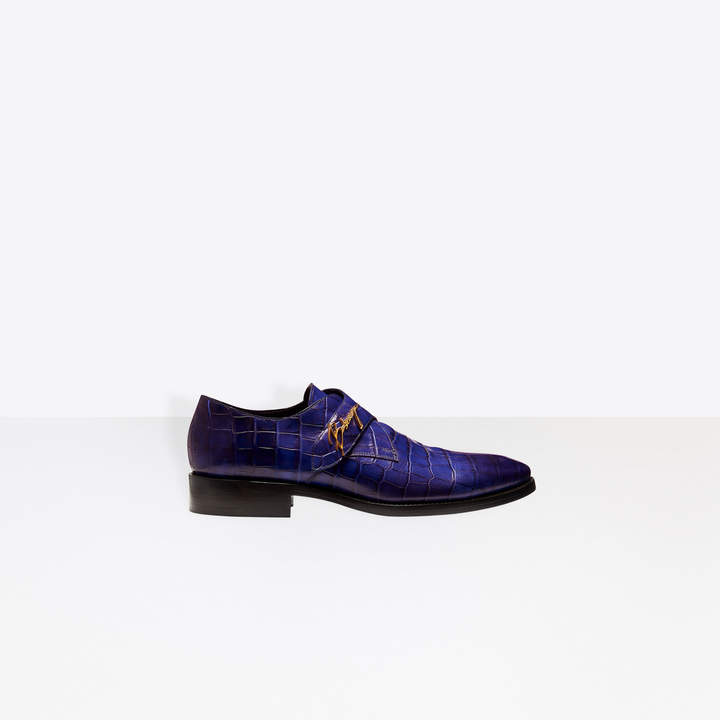 Balenciaga Crocodile-effect calfskin monk strap derbies
