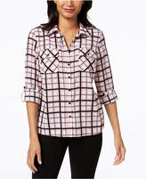NY Collection Petite Printed Roll-Tab Sleeve Shirt