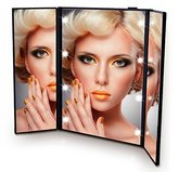 Onson Tri-Fold Led Lighted Travel portable Mirror Compact for Cosmetic Makeup For Vanity Style (Black)