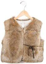 Bonpoint Girls' Tie-Accented Fur Vest