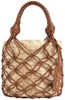 Miu Miu Leather Net & Faux Raffia Bucket Bag