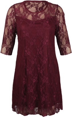 Purple Hanger Ladies New Plus Size Floral Pattern Lace Dresses Womens Lined 3/4 Sleeve Stretch Fit Evening Dress All Burgundy Maroon Size 16