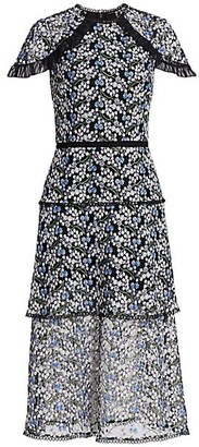 ML Monique Lhuillier Embroidered Mesh Dress