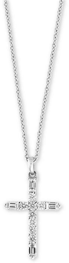 "Effy Diamond Cross 18"" Pendant Necklace (1/4 ct. t.w.) in 14k White Gold"