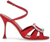 Manolo Blahnik Ticuna 100 red silk sandals